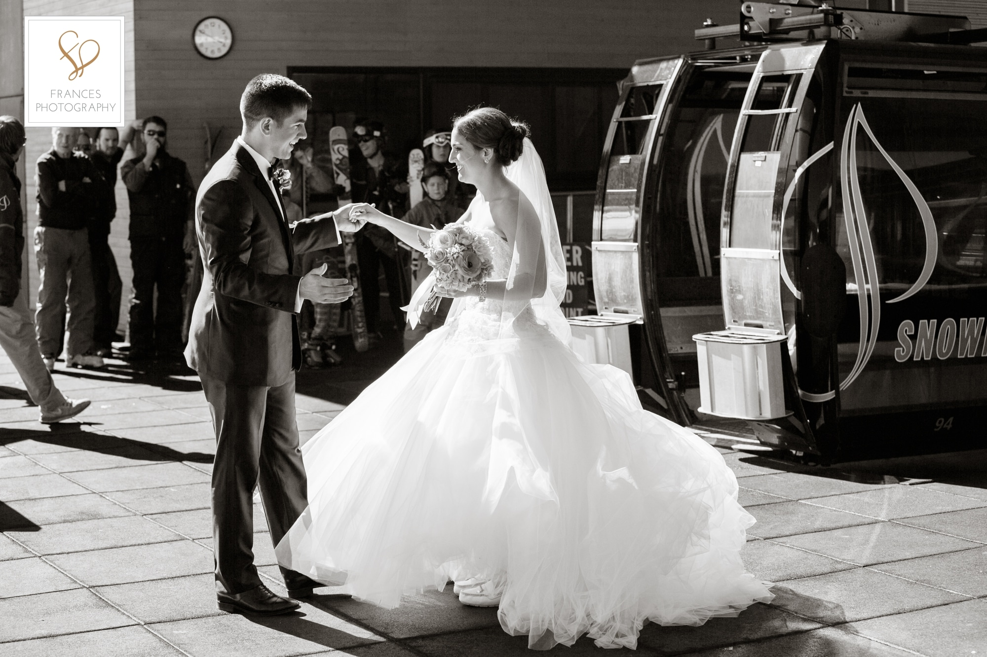 Wedding photo bride groom ski lift